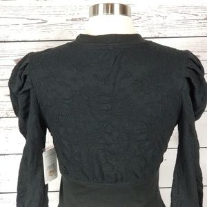 Free People Tops - Free People Gemma Puffed-Sleeve Henley Black S New